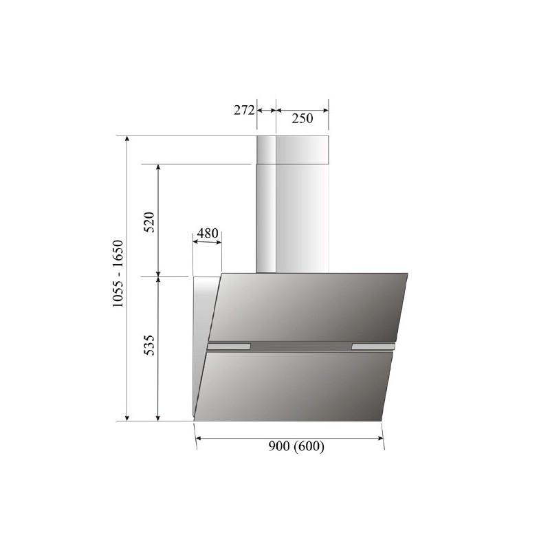 Thermex Preston 2 Vertical 60cm RF svart glas Dimension