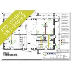 Ventilationsritning FTX system 1-plan 181-240 m2