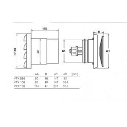 Friskluftsventil VTK 160 Termo dimensioner