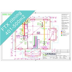 Ventilationsritning FTX system 1-4-plan 401-500 m2
