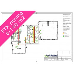 Ventilationsritning FTX system 3-plan 0-140 m2