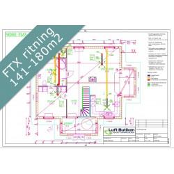 Ventilationsritning FTX system 1-plan 141-180 m2
