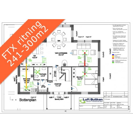 Ventilationsritning FTX system 3-plan 241-300 m2