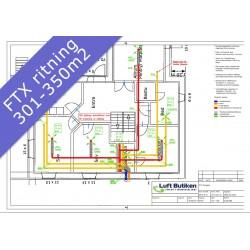 Ventilationsritning FTX system 3-plan 301-350 m2