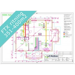Ventilationsritning FTX system 1-plan 351-400 m2