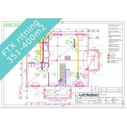 Ventilationsritning FTX system 3-plan 351-400 m2