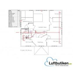 Ventilationsritning F-system 1-plan 351-400 m2