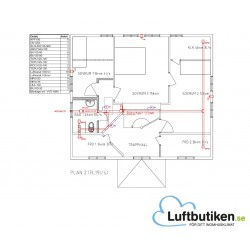 Ventilationsritning F-system 3-plan 351-400 m2